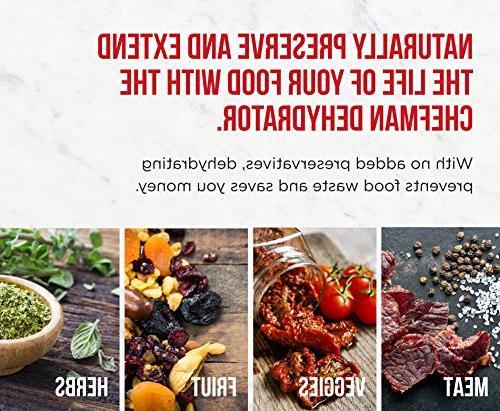 Chefman 5 Food Dehydrator, BPA-Free Electric Food Meat Beef Jerky Vegetable Diameter Height