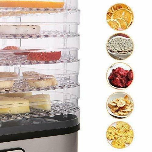 Homdox Food Dehydrator Jerky with 5/7 Trays, Knob Button/250Watt Power