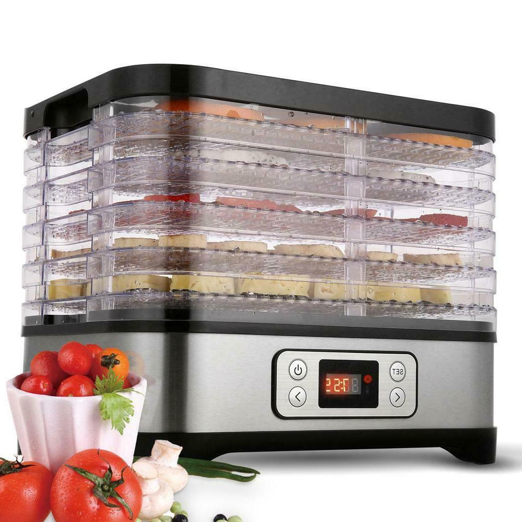 Food Dehydrator 6-Tier Stainless Steel Fruit Jerky Meat Drye