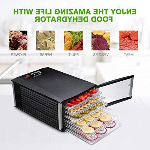 Food Dehydrator, Sancusto Trays Professional Fruit Machine with Temperature Timer Overheating for and BPA