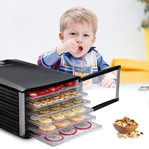 Food Dehydrator, Sancusto 6 Trays Professional Machine with Timer and Overheating Prevent, for and Vegetables,
