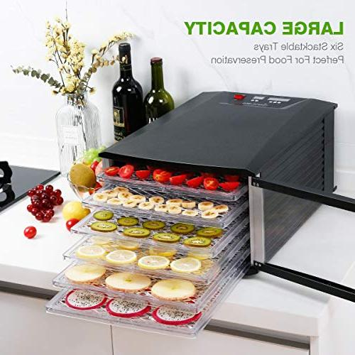 Food Dehydrator, Sancusto Trays Machine Temperature Timer Prevent, for Meat, and Vegetables,