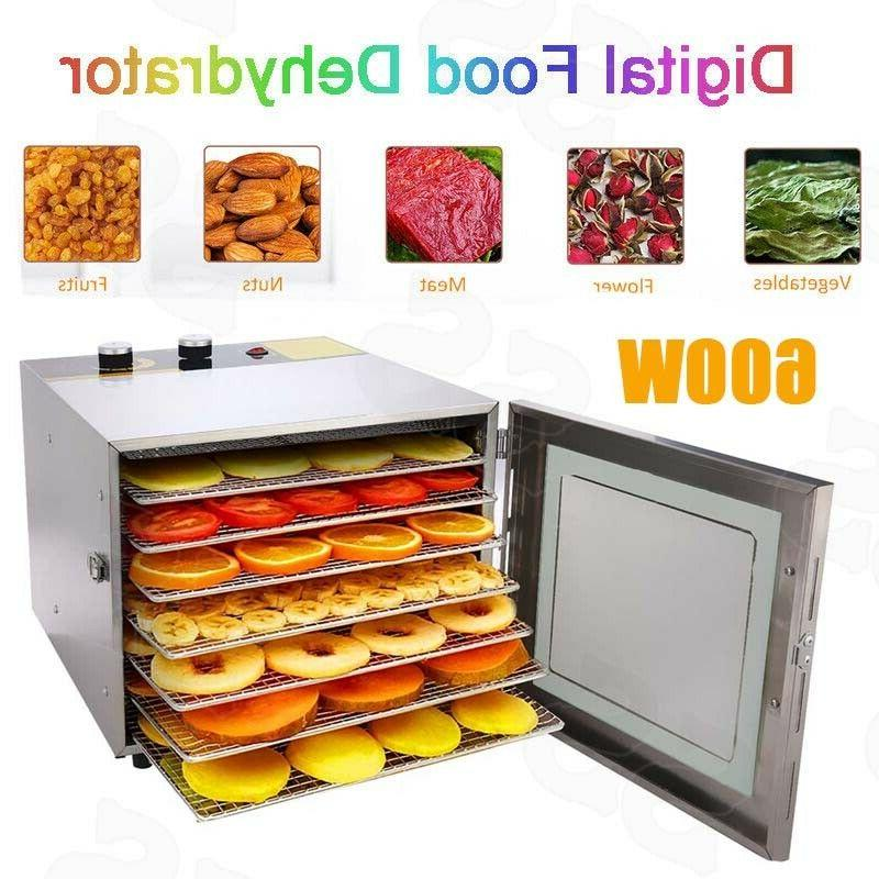 Food Dehydrator 6 Tray Stainless Steel Fruit Jerky Meat Drye