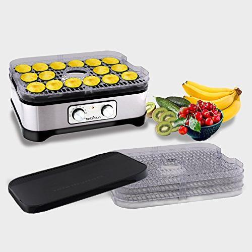 Multi Tier Food Dehydrator Machine Professional Food Trays Beef and Vegetable NutriChef PKFD30