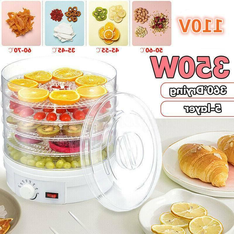 5-Tray Food Dehydrator Adjustable Countertop Fruit Drying US