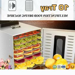 NEW Commercial 10 Tray Stainless Steel Food Dehydrator Fruit