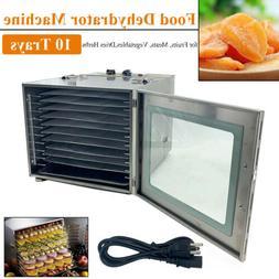 Premium Food Dehydrator Machine 1000W 10 Stainless Steel Tra