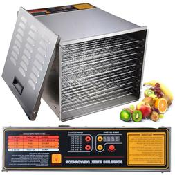 Stainless Steel Commercial Food Dehydrator 10 Trays 1200W Up