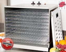 Ten Rack Stainless Steel Food Dehydrator with Removable Door